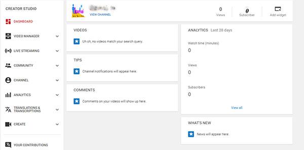 youtube Chanel dashboard