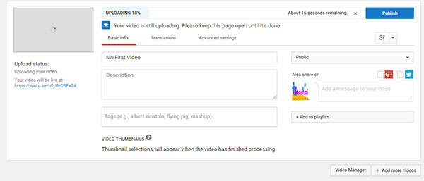 upload videos on youtube step 3