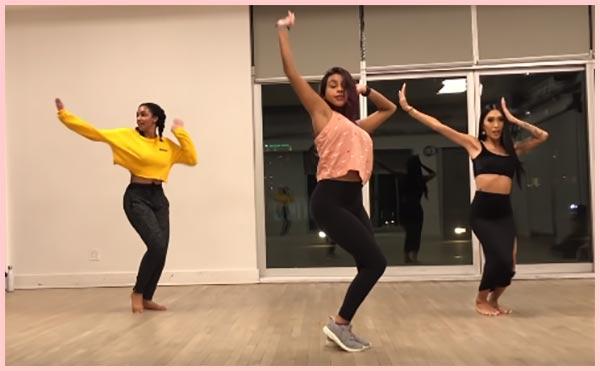 Girls dancing in dance studio